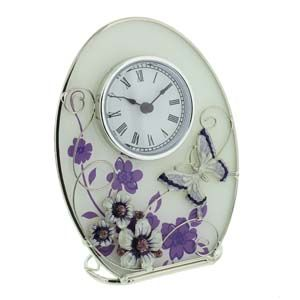WIDDOP Glass Oval Clock Purple Butterfly/Flowers/Crystals  561CK