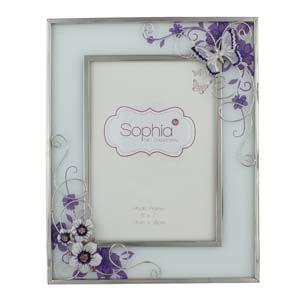 "WIDDOP Glass Photo Frame Purple Butterfly/Flwrs/Cryst 5""x7""  561F57"
