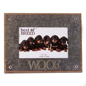 "WIDDOP Photo Frame Metal Lettering WOOF 6"" x 4""  BB235"