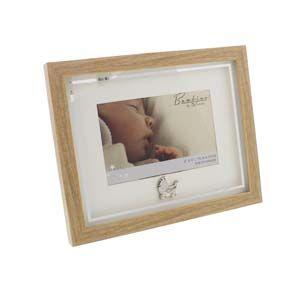 "WIDDOP Bambino Photo Wood Effect Frame with Pram Icon 6"" x 4""  CG1220"