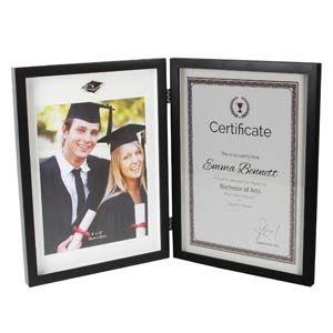 WIDDOP Graduation Black MDF Hinged Photo Frame & Certificate Holder  FW836