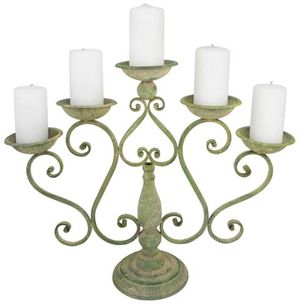 Aged Metal Scroll Candle Holder - Am91