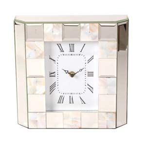 WIDDOP Hestia Glass Mirror Mother Of Pearl Mantel Clock  HE1039