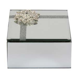 WIDDOP Sophia Glass Mirror Diamante Flower Trinket Box  SP1713