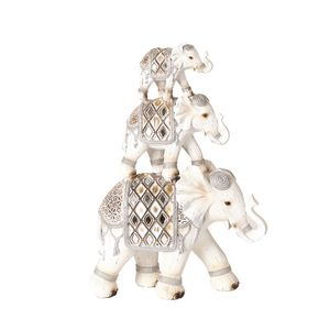 Straits Trading Co- Decor 3 Elephants White 34cm Ref: 21576