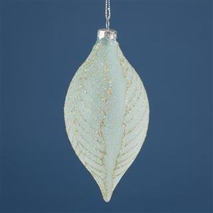 Triflora Mint Green Leaf Glass Droplet Bauble BG04417
