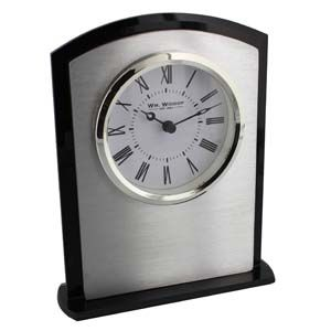 WIDDOP Black & White Arched Mantel Clock Silver Bezel  W2739