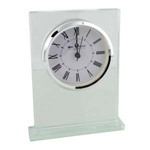 WIDDOP Square Shaped Glass Mantel Clock Chrome Bezel  W2785