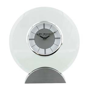 WIDDOP Round Mantel Clock Glass and Aluminium 18.5cm  W2792