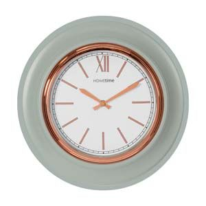 WIDDOP Hometime Round Wall Clock Grey / Rose Gold Bezel Roman 36cm  W7419GY
