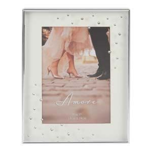 """WIDDOP Amore Silverplated Box Frame with Crystals 5"""" x 7""""  WG97457"""