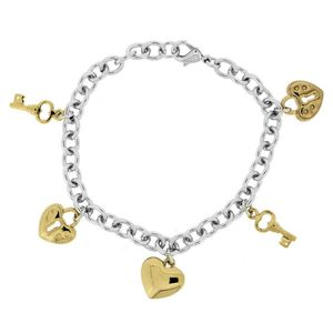 Bracelet - Rhod/Gold Double Heart/Lock 608