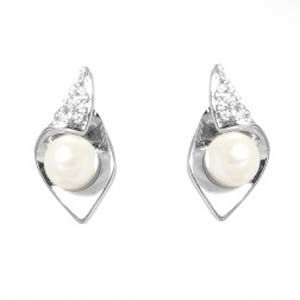 Espree Rhodium Plated Clip Earrings - Crystal/Pearl Ref: 1316