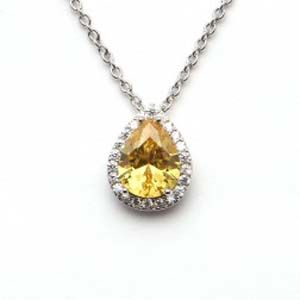 Espree White And Yellow Cz Teardrop Pendant Ref: 1568