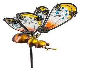 Fountasia Glass Stake Bee - Yellow 35064
