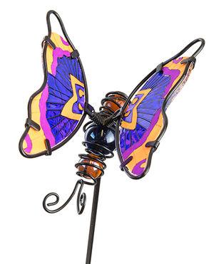 Fountasia Glass Stake Butterfly - Glow In The Dark Orange/Purple 35066