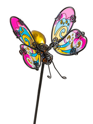 Fountasia Glass Stake Butterfly - Pink/Yellow 35062