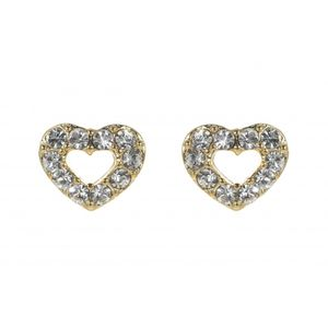 Gold Plated Crystal Heart Studs 1717