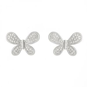 Rhodium Crystal Butterfly Studs 1714