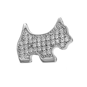 Rhodium Crystal Dog Broach Brooch1281