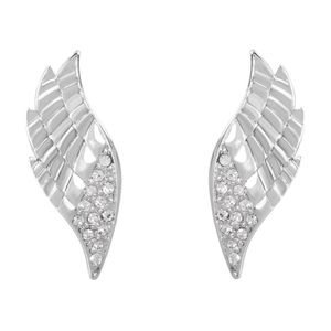 Rhodium Cz Feather Earrings E/Ring1470