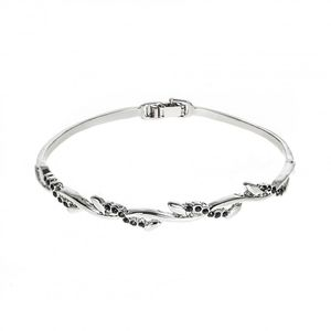 Rhodium Plated Entwined Bangle 1904