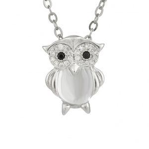 Rhodium Plated Owl Pendant 1895