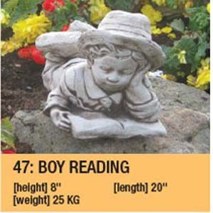 Stone Boy Reading Garden Ornament