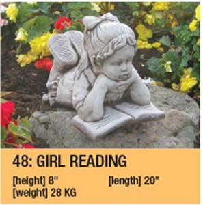 Stone Girl Reading Garden Ornament