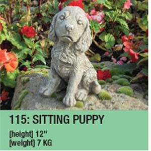 Stone Large Puppy Garden Ornament