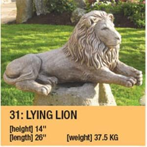Stone Lying Lion Garden Ornament