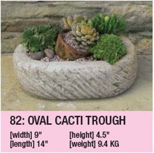 Stone Oval Cacti Trough