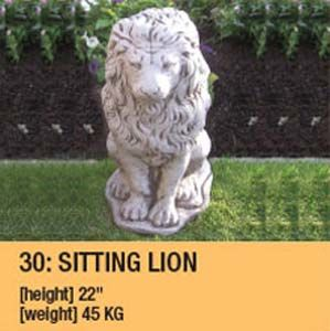 Stone Sitting Lion Garden Ornament