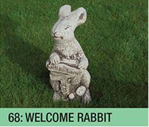 Stone Welcome Rabbit Garden Ornament