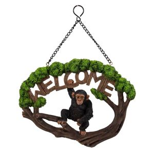 Vivid Arts Hanging Chimpanzee Welcome Sign Hgf-057