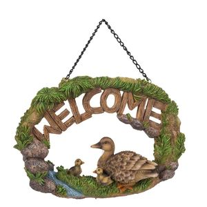 Vivid Arts Hanging Duck Family Welcome Sign Hgf-052