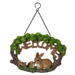 Vivid Arts Hanging Rabbit Family Welcome Sign Hgf-055