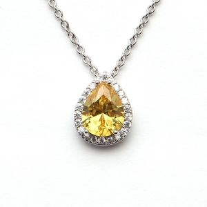 White And Yellow Cz Teardrop Pendant 1568