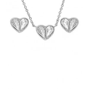 White Stone Heart  Pendant Set 1798