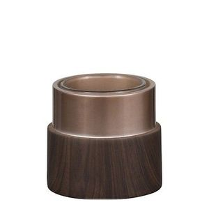 Yankee Wood And Copper Round Votive Holder