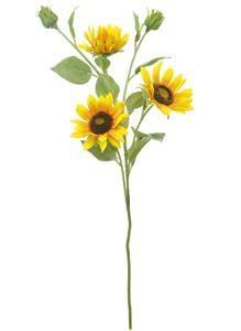 Lotus Silk Small Sunflower Spray Yellow 105455