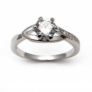 Crafted Solitaire Cz Ring - Size Small 1601M