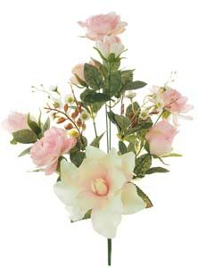 Lotus Silk Rose  Lily Bunch Pink/White 166170