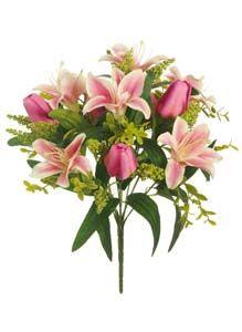 Lotus Silk Lily  Tulip Bunch Pink 306033