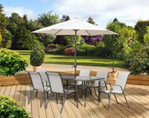 Pagoda Rhodes 6 Seat Dining Set (Table, 6 Stacking Chairs, Parasol) 362899