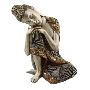 WIDDOP Juliana Silver Thai Buddha Sitting Figurine 19 cms  53833