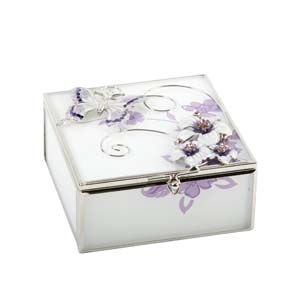 WIDDOP Glass Square Trinket Box Purple Butterfly/Flwrs/Crys  561TB