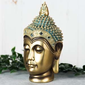 WIDDOP Verdigris Bronze Finish Buddha Head Figurine 24.5cm  62712