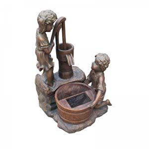 Boy & Girl Water Pump Solar Water Feature 1170080Rl