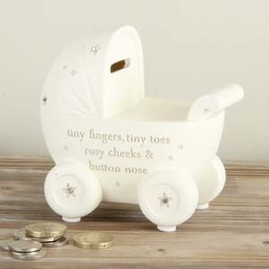 WIDDOP Bambino Resin Money Bank - Pram  CG1152